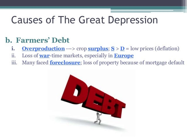 causes of the great depression overproduction Growing up in down times: children of the great depression  contributing  factors generally include the overproduction of crops and manufactured goods,.