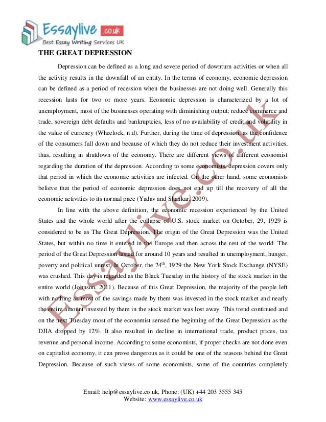 essay question on the great depression Free coursework on facts of the great depression from essayukcom, the uk essays company for essay, dissertation and coursework writing.