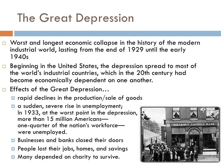The worst depression of modern history summary