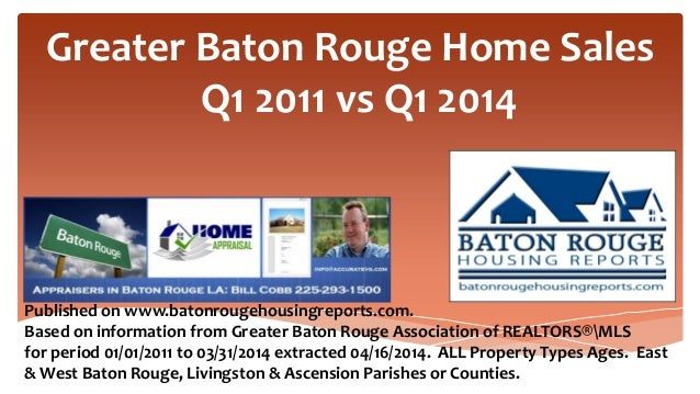 Greater Baton Rouge Home Sales Q1 2011 vs Q1 2014 Published on www.batonrougehousingreports.com. Based on information from...
