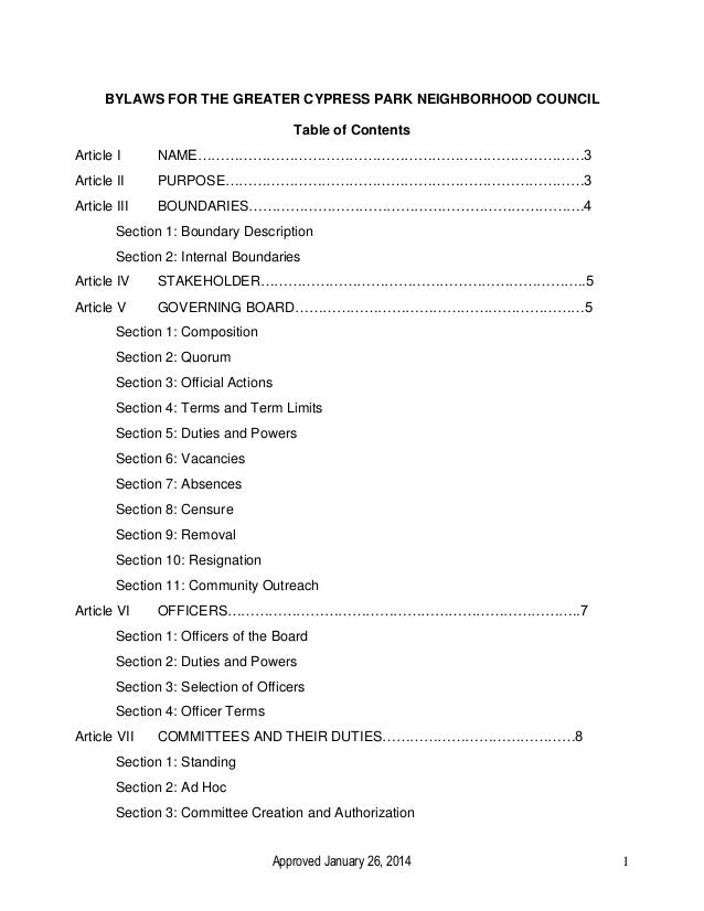 Approved January 26, 2014 1 BYLAWS FOR THE GREATER CYPRESS PARK NEIGHBORHOOD COUNCIL Table of Contents Article I NAME……………...