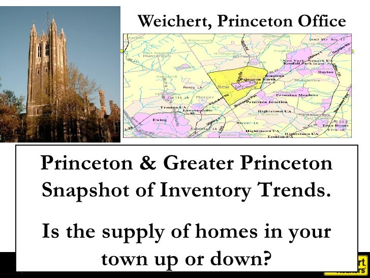 Weichert, Princeton Office Princeton & Greater Princeton Snapshot of Inventory Trends. Is the supply of homes in your town...