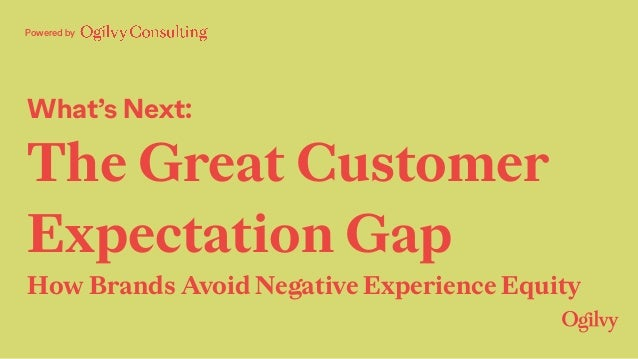 What's Next: The Great Customer Expectation Gap How Brands Avoid Negative Experience Equity Powered by