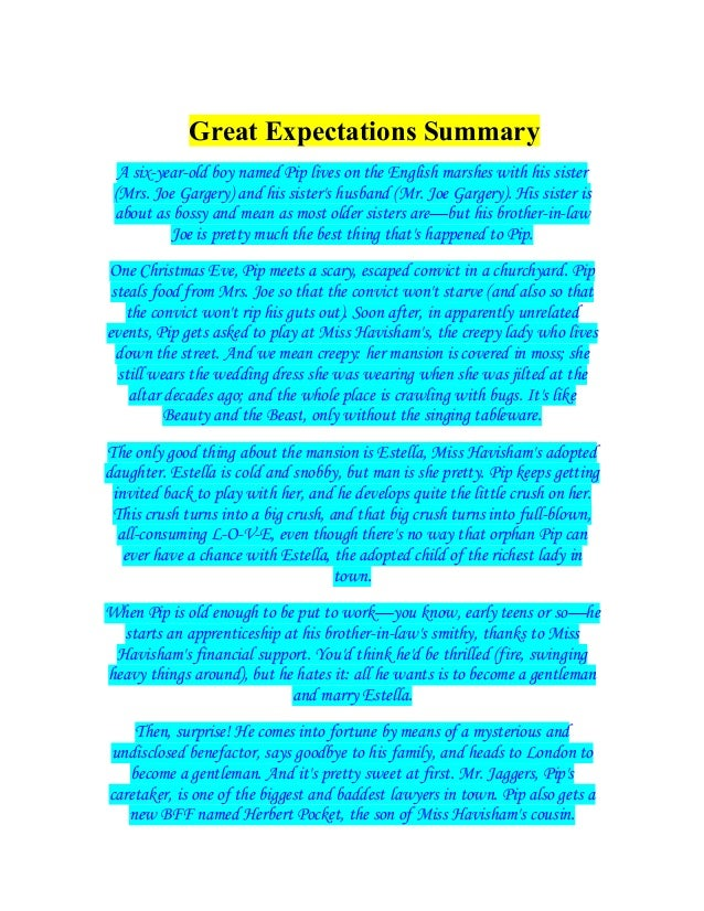 a summary of great expectations A secondary school revision resource for gcse english literature about the plot, characters and themes in charles dickens' great expectations.