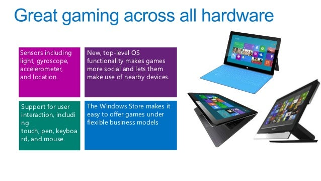 Sensors including      New, top-level OSlight, gyroscope,      functionality makes gamesaccelerometer,         more social...