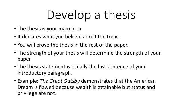 The Great Gatsby thesis statement