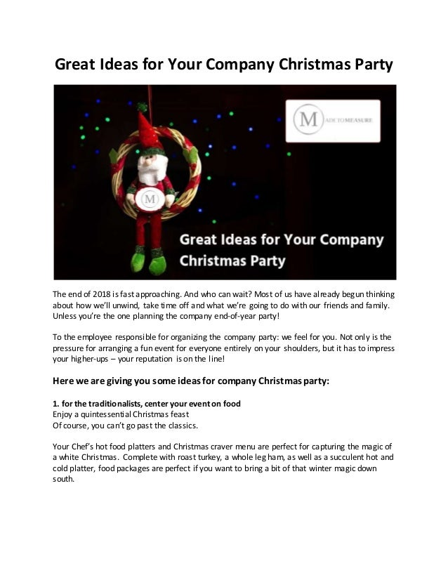 Company Christmas Party Ideas.Great Ideas For Your Company Christmas Party