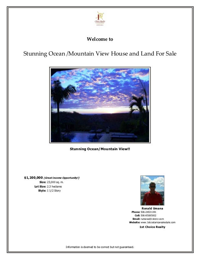 Welcome toStunning Ocean /Mountain View House and Land For Sale                                    Stunning Ocean/Mountain...
