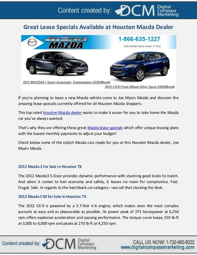 Car Lease Houston >> Great Lease Specials Available At Houston Mazda Dealer