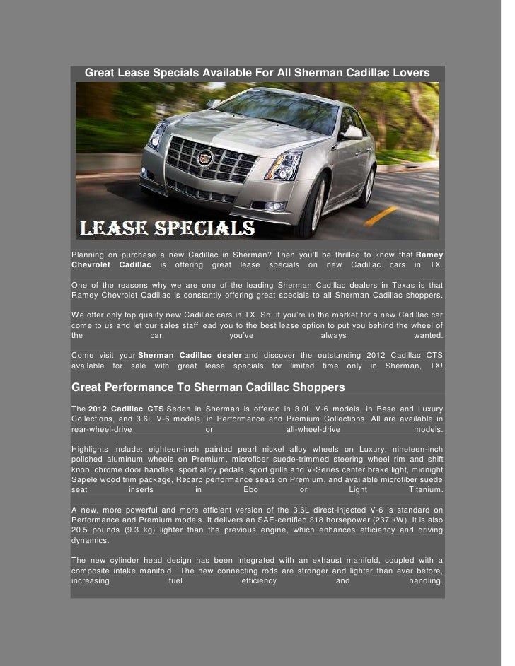 Ramey Chevrolet Sherman Tx >> Great Lease Specials Available For All Sherman Cadillac Lovers