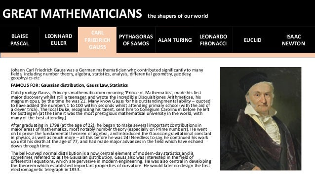 greatest mathematicians and their work 5 brilliant mathematicians and their we picked five of the most brilliant mathematicians whose work gauss could easily be called the greatest mathematician.