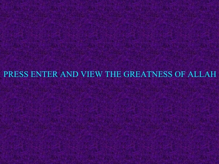 PRESS ENTER AND VIEW THE GREATNESS OF ALLAH