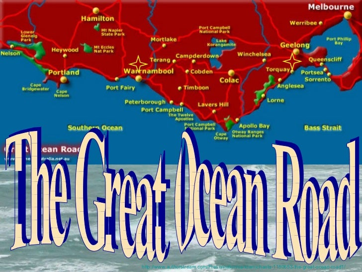 The Great Ocean Road The Great Ocean Road is a 243-kilometre stretch of road along the south-eastern coast of Australia be...