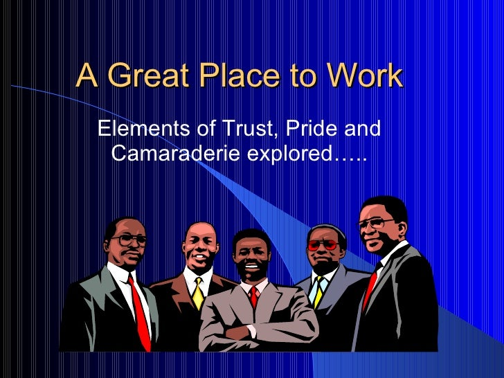 A Great Place to Work Elements of Trust, Pride and Camaraderie explored…..