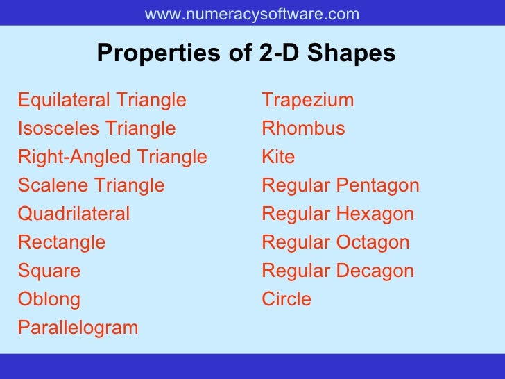 Properties of 2-D Shapes   Equilateral Triangle Isosceles Triangle Right-Angled Triangle Scalene Triangle Quadrilateral Re...