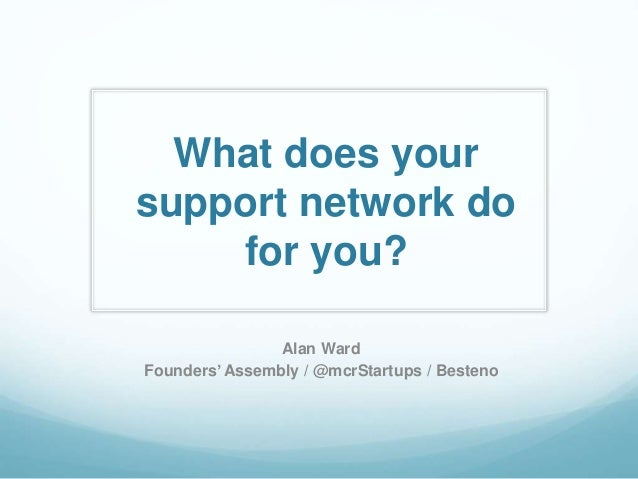 What does your support network do for you? Alan Ward Founders' Assembly / @mcrStartups / Besteno