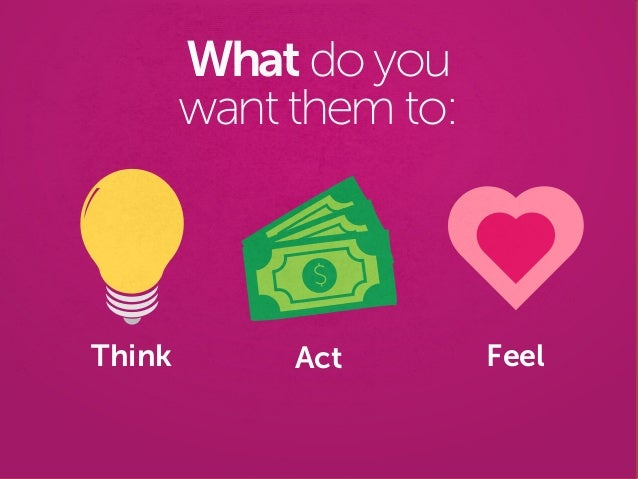 Think What do you want them to: Act Feel