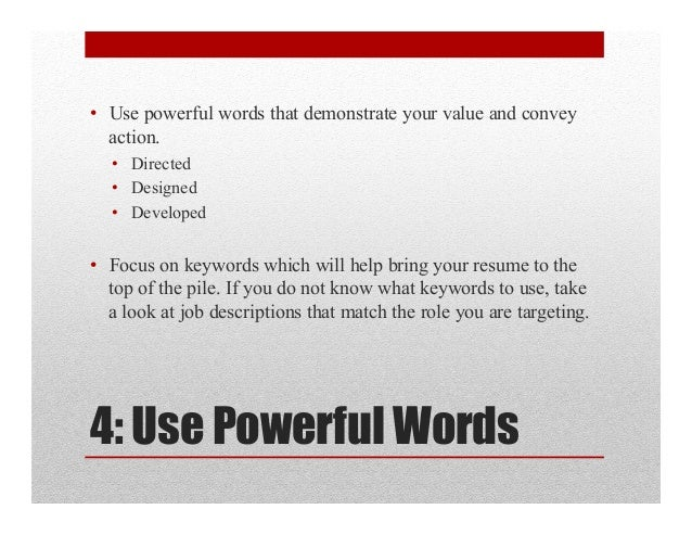 the. keywords to use in a resume resume 101 how to use keywords ...