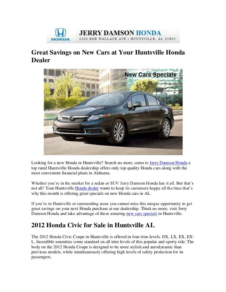 Honda Dealerships In Alabama >> Great Savings On New Cars At Your Huntsville Honda Dealer