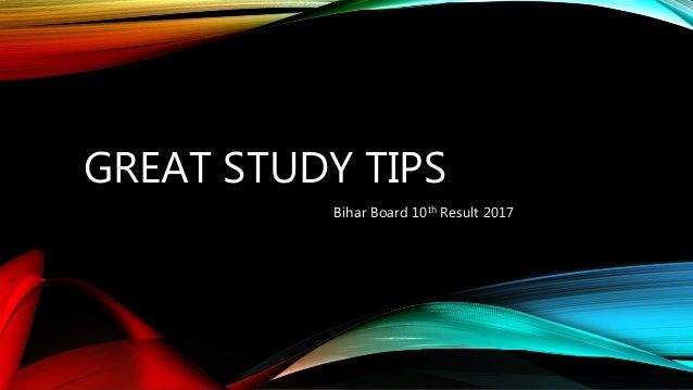 GREAT STUDY TIPS Bihar Board 10th Result 2017