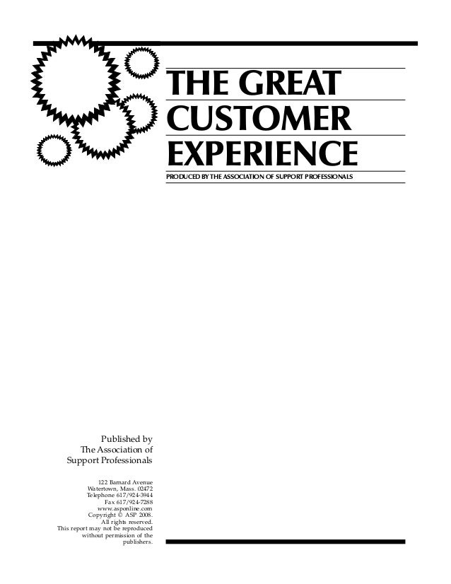 THE GREAT                                       CUSTOMER                                       EXPERIENCE                 ...