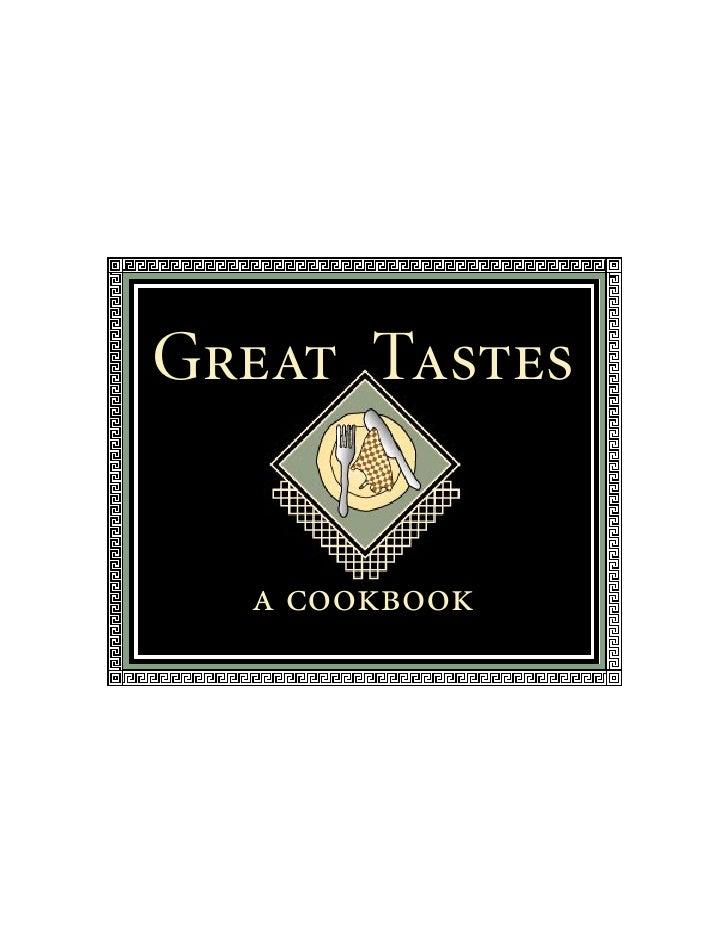 Great Tastes  a cookbook