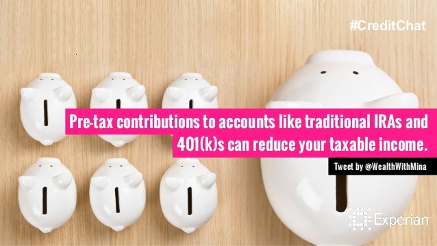 Pre-tax contributions to accounts like traditional IRAs and 401(k)s can reduce your taxable income. Tweet by @WealthWithMi...