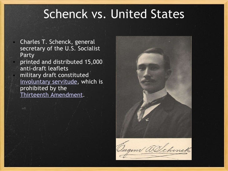 schenck v united states Title: us reports: schenck v united states, 249 us 47 (1919) contributor  names: holmes, oliver wendell (judge): supreme court of the united states.