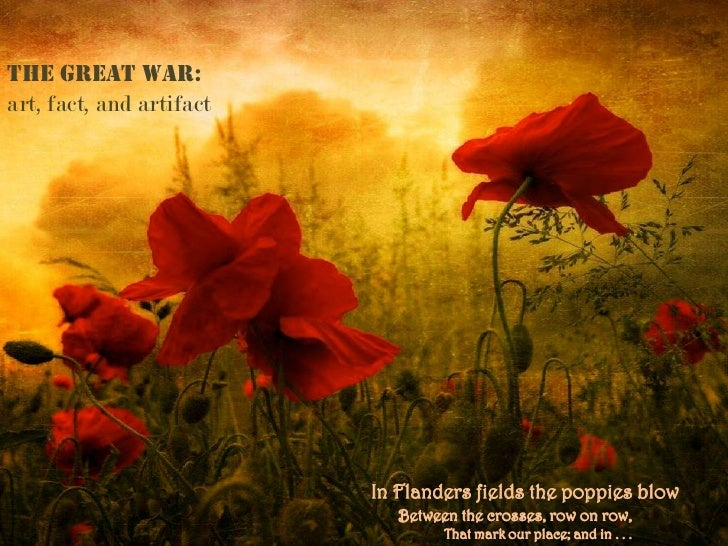 the great war:art, fact, and artifact                          In Flanders fields the poppies blow                        ...
