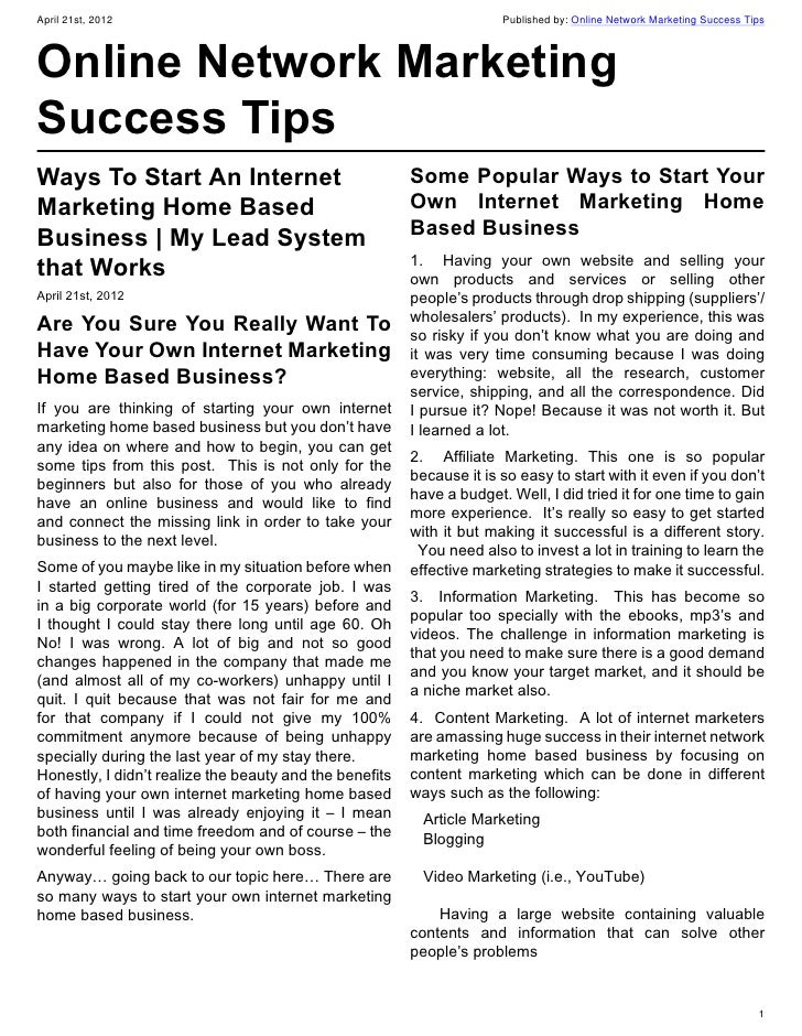 Great ways to start your own internet marketing home based business