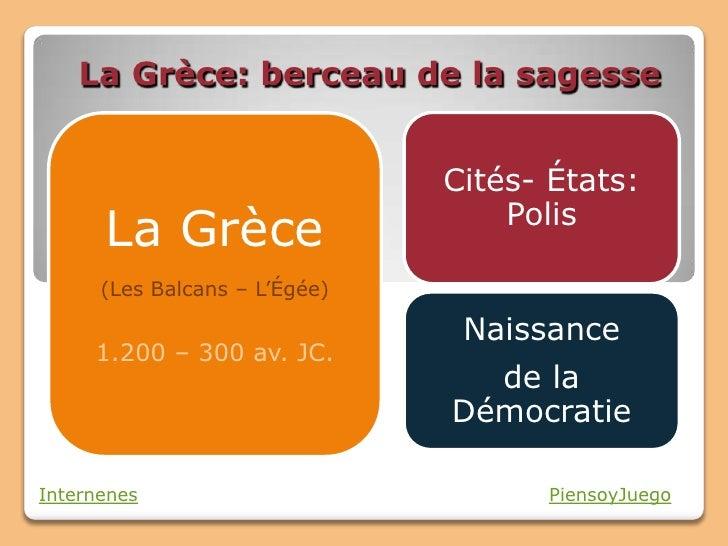 La Grèce: berceau de la sagesse                               Cités- États:                                   Polis      L...