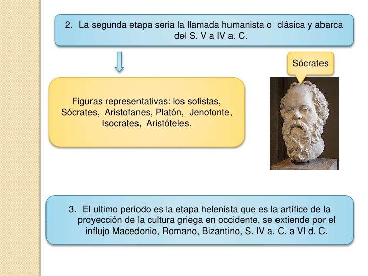 La segunda etapa seria la llamada humanista o  clásica y abarca del S. V a IV a. C.<br />Sócrates<br />Figuras representat...