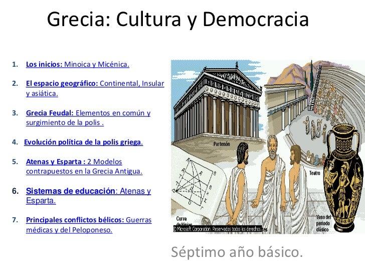 Grecia: Cultura y Democracia 1. Los inicios: Minoica y Micénica.  2. El espacio geográfico: Continental, Insular    y asiá...