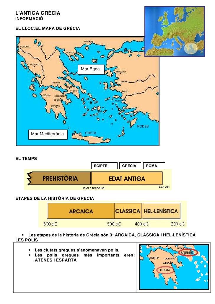 L'ANTIGA GRÈCIAINFORMACIÓEL LLOC:EL MAPA DE GRÈCIA                             Mar Egea                                   ...