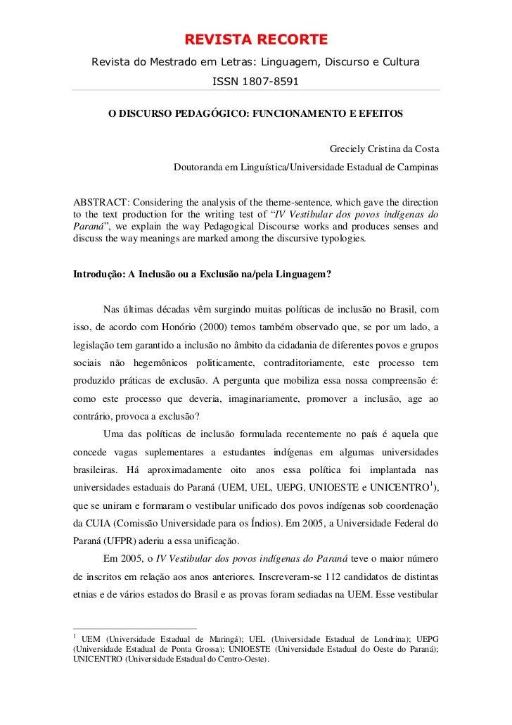 REVISTA RECORTE    Revista do Mestrado em Letras: Linguagem, Discurso e Cultura                                   ISSN 180...