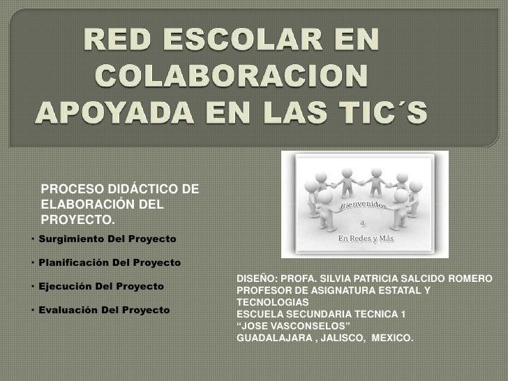 RED ESCOLAR EN COLABORACION APOYADA EN LAS TIC´S<br />PROCESO DIDÁCTICO DE ELABORACIÓN DEL PROYECTO.<br />·  Surgimiento D...