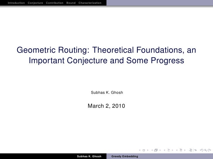Introduction Conjecture Contribution Bound Characterization     Geometric Routing: Theoretical Foundations, an       Impor...