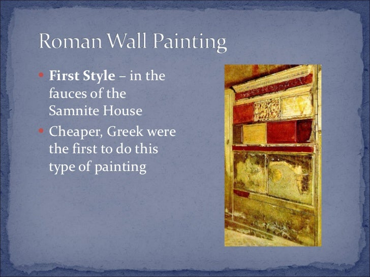 First Style Wall Painting In The Fauces Of The Samnite House Greek and roman...
