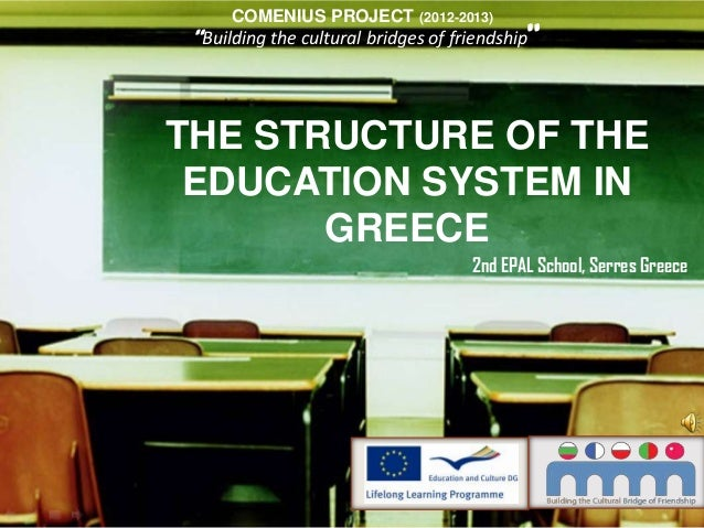 """THE STRUCTURE OF THEEDUCATION SYSTEM INGREECE""""Building the cultural bridges of friendship""""2nd EPAL School, Serres GreeceCO..."""