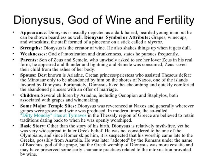 Dionysus Greek Mythology Symbol