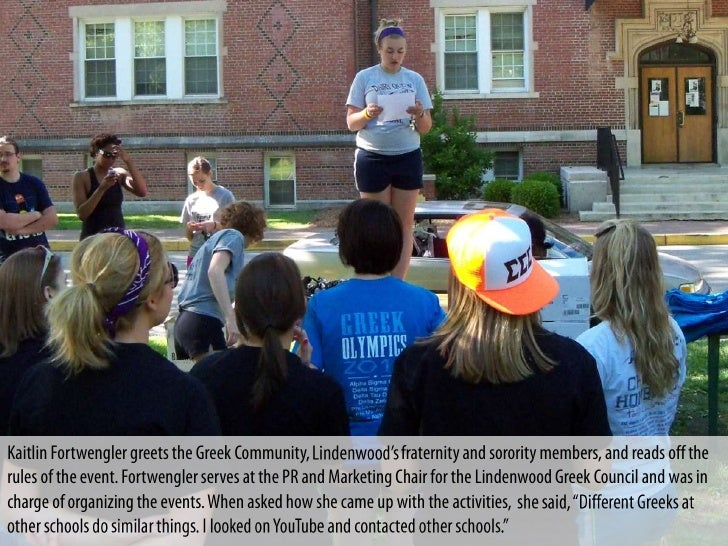 Kaitlin Fortwengler greets the Greek Community,                 fraternity and sorority members, and reads off therules of...