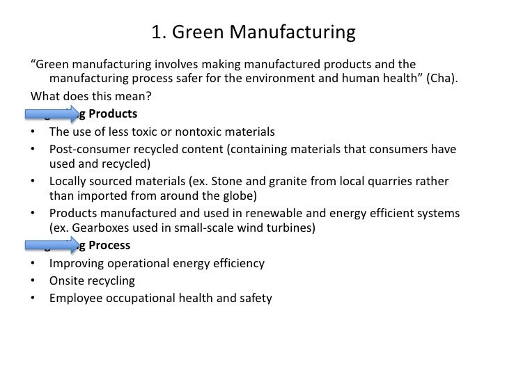 "1. Green Manufacturing <br />""Green manufacturing involves making manufactured products and the manufacturing process safe..."