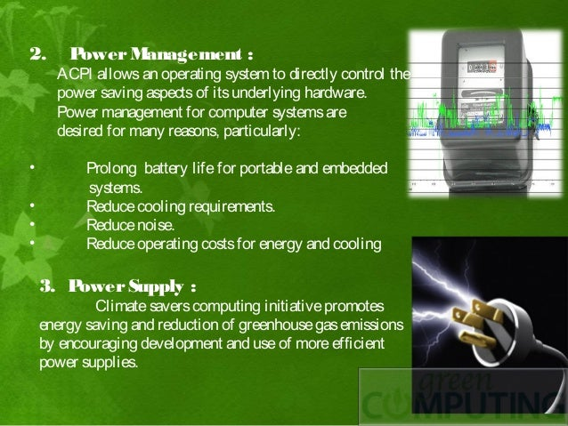 green computing Green computing is the use of computers and related resources in an environmentally responsible manner this involves the implementation of energy-efficient central processing units (cpus), servers and peripherals as well as proper disposal of electronic waste (e-waste.
