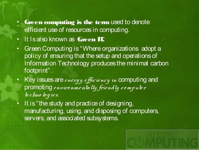 uses of green computing