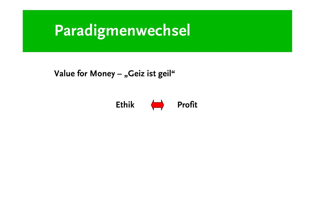 """Paradigmenwechsel  Value for Meaning – """"Lifestyle of Health and Sustainability """"                 Ethik                    ..."""
