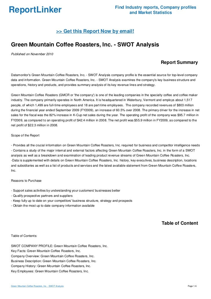 a case study of green mountain inc Green mountain coffee roasters inc case study help, case study solution & analysis & barisimo sources immediate trade beans from within the globe, nevertheless the roastery is equally noted for its creative tactic towards coffee: they not.