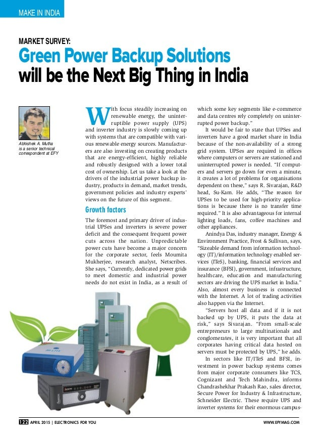make in India 122 April 2015   Electronics For You www.efymag.com Green Power Backup Solutions will be the Next Big Thing ...