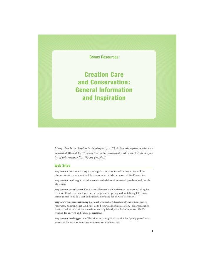 Bonus Resources                      Creation Care                    and Conservation:                   General Informat...