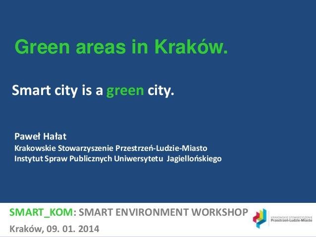 Green areas in Kraków. Smart city is a green city. Paweł Hałat Krakowskie Stowarzyszenie Przestrzeń-Ludzie-Miasto Instytut...