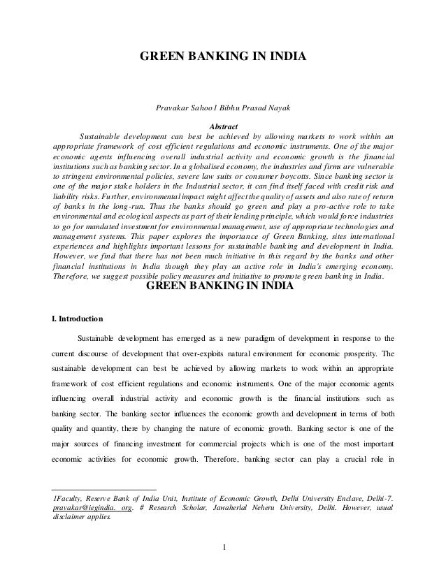 green banking in india 294 | p a g e green banking and environment sustainability by commercial banks in india omid sharifi¹, bentolhoda karbalaei hossein² (phd scholar, department of business administration, faculty.
